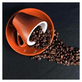 levandeo Glasbild 30x30cm Wandbild Glas Kaffee Küche Bohnen Tasse Coffee