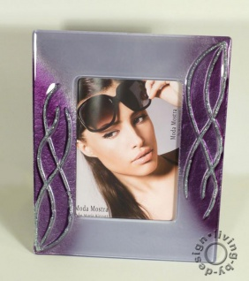 Design Bilderrahmen aus Glas violett - Fotorahmen hochwertiges Unikat