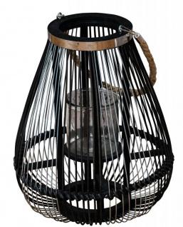 Laterne H36cm Bambus Windlicht Schwarz Holz Glas Kerzenhalter Sisal Deko