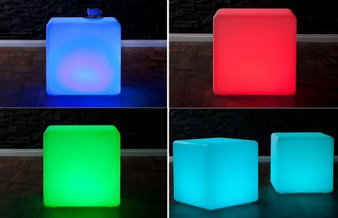 LED Würfel Hocker Sitzwürfel Design Lounge Beistelltisch Tisch Akku - Vorschau 1