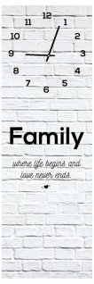 Wanduhr aus Glas 20x60cm Uhr als Glasbild Family Love Life shabby chic - Vorschau 1