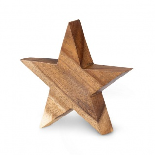 Stern Holzstern Akazie 12cm Akazienholz Braun Natur Deko Tischdeko Holzdeko