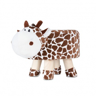 Hocker Giraffe H25cm Braun Weiß Plüsch Polsterhocker Kinderzimmer Tierhocker