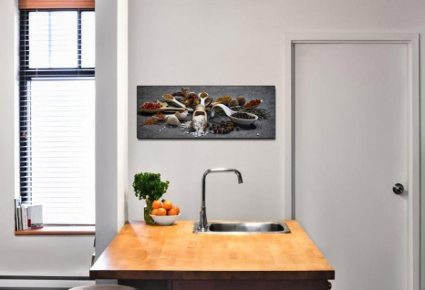 Wandbild 80x30cm Alu Dibond Gewürze Kräuter Küche Küchenbild Löffel Wanddeko - Vorschau 2