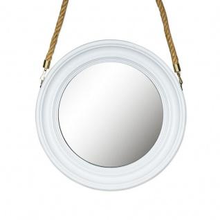 Spiegel 40cm Rund Wandspiegel Flurspiegel Weiß mit Kordel Wanddeko Deko