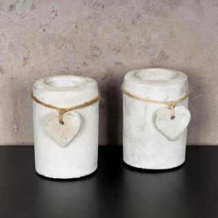2er Set Teelichthalter Beton je 10cm hoch Kerzenhalter Kerzenständer Tischdeko - Vorschau 2