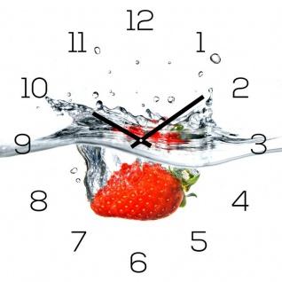 Wanduhr Glas 30x30cm Uhr Glasbild Erdbeere Rot Wasser Frucht Fruit Küchenuhr