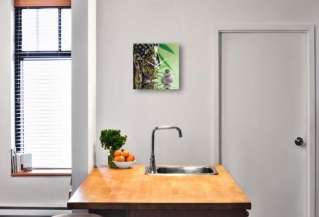 Wanduhr Glas 30x30cm Uhr Glasbild Buddha Kopf Steine Grün Wellness Wanddeko - Vorschau 2