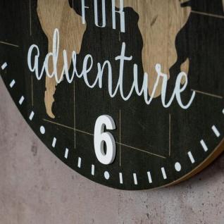Wanduhr 30x30cm Uhr Holz Braun Küchenuhr Weltkarte Wanddeko Deko Zahlen Map - Vorschau 5