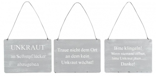 3er Set Wandbilder Sprüche 18x13cm Schilder Gartendeko Türschild Betonoptik Grau