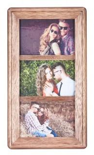 Bilderrahmen Collage 3 Fotos 10x15 Holz Braun Glas Aufsteller Deko Fotorahmen