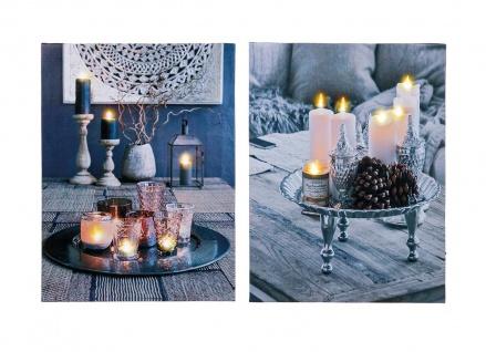 2er Set LED Leinwandbilder Wandbild Kerzen je 40x30cm Dekoration