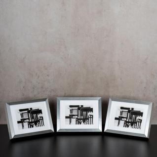levandeo 3er Set Bilderrahmen 13x18cm Aluminium Optik Holz MDF Glasscheiben