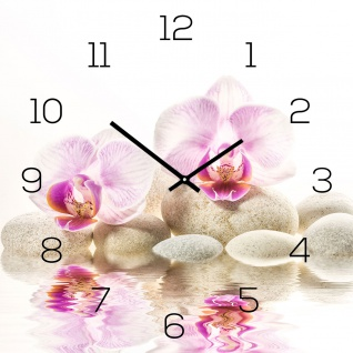 Wanduhr aus Glas 30x30cm Uhr als Glasbild Rosa Orchidee FengShui