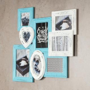 levandeo Bilderrahmen 8 Fotos 60x51cm Shabby Chic Weiß Blau Pastell Collage - Vorschau 3