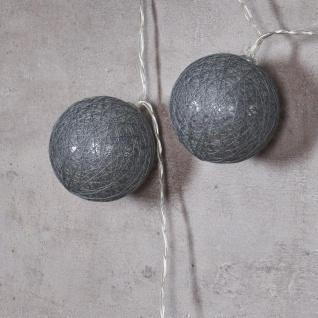 10er Lichterkette LED Ø6cm Kugeln Girlande Lampions Baumwolle Weiß Grau Deko - Vorschau 5