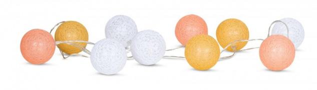 10er Lichterkette LED Kugeln Lampions Baumwolle Orange Weiß Cotton Warmweiß Deko