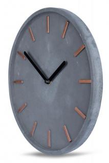 Hochwertige Beton-Uhr Wanduhr 30cm Grau Kupfer Uhrzeit modern Wanddeko - Vorschau 2