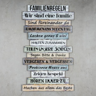 Wandbild 56 x 33 cm Familienregeln Holzschild Shabby Chic Vintage Deko Sprüche - Vorschau 3