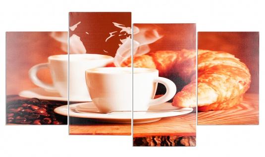 Wandbild 4 teilig Kaffee Bohnen Cafe cappuccino Espresso Bild Leinwand