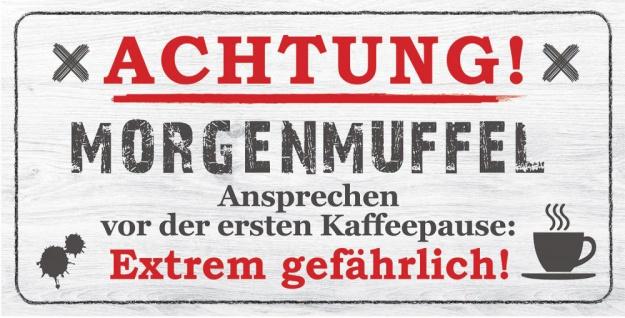 Wandbild 40x20cm Morgenmuffel Spruch Danger Deko Wandschild Wanddeko Bild Schild