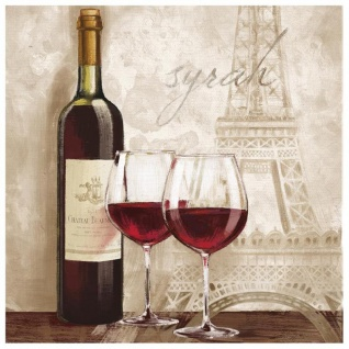levandeo Glasbild 30x30cm Wandbild Glas Wein Paris Küchendeko Frankreich