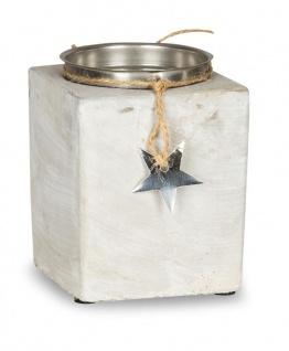 2er Set Kerzenständer Beton Je 13cm Hoch Kerzenleuchter Grau Kerzenhalter Deko - Vorschau 2