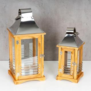 2er Set Laterne 47cm Hoch Braun Metall Streben Deko Holz Windlicht Gartenlaterne - Vorschau 2