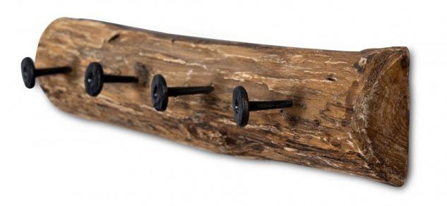 Garderobe Holz Teak L50cm Hakenleiste Recyclingholz Wanddeko Deko 4 Haken Natur