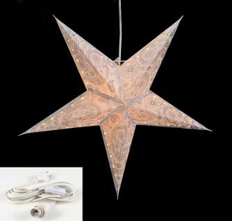 Leuchtstern 5 Zacken weiß silber 60cm Papiertstern Stern inkl Kabel - Vorschau 2