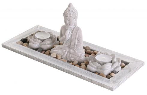 Deko Tablett Buddha Beton Lotusblüte Teelichthalter Kerzenhalter Tischdeko Holz