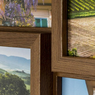 levandeo Bilderrahmen Collage 28x28cm 4 Fotos 10x15 Nussbaum MDF Holz Glas - Vorschau 5