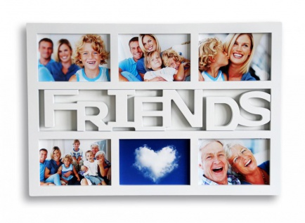 Bilderrahmen weiß Schriftzug FRIENDS 6 Fotos Fotogalerie Collage