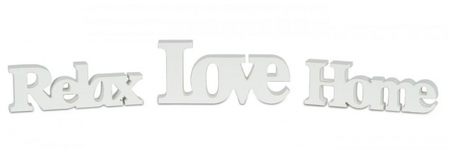 levandeo 3er Set Schriftzug Holz Love Home Relax weiß shabby Aufsteller Deko
