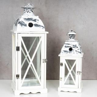 2tlg. Laternen Set Holz weiß Metall Glas Shabby Chic 42cm & 60cm 2er - Vorschau 2