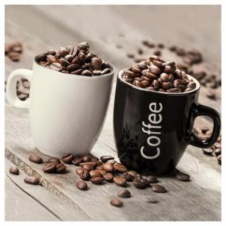 levandeo Glasbild 30x30cm Wandbild Glas Kaffeetasse Küche Bohnen Coffee