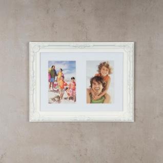 levandeo Bilderrahmen 2 Fotos 10 x15cm Barock Passepartout Weiß Collage Galerie - Vorschau 2