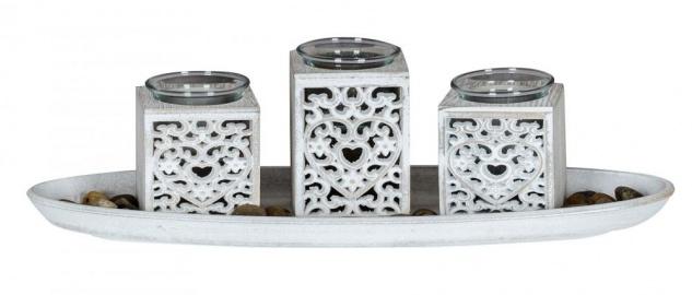 Teelichthalter Set B39cm Holztablett Herz Ornament Weiß Grau Shabby Chic Vintage