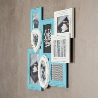 levandeo Bilderrahmen 8 Fotos 60x51cm Shabby Chic Weiß Blau Pastell Collage - Vorschau 4