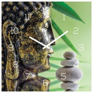 Wanduhr Glas 30x30cm Uhr Glasbild Buddha Kopf Steine Grün Wellness Wanddeko