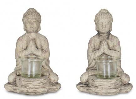 2er Set Teelichthalter Buddha Figur Keramik je 19cm hoch Grau Tischdeko