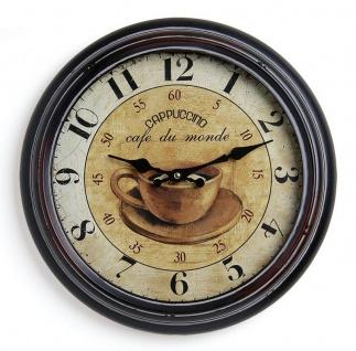 Wanduhr Metall 37cm Paris Cappuccino cafe Nostalgie Landhaus Uhr - Vorschau