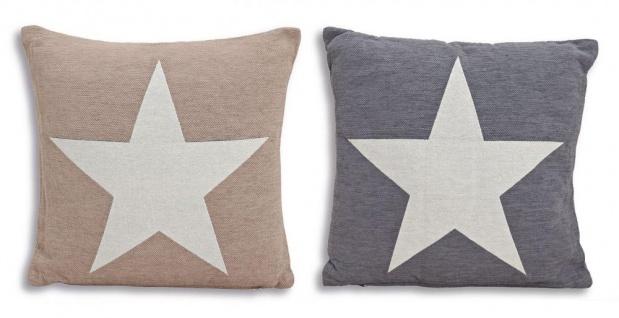 Kissen Set Sterne Star grau beige 45cm Baumwolle Sofakissen Dekokissen