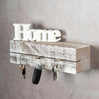 levandeo Schlüsselbrett Holz Massiv 35x10cm Shabby Chic lackiert Schlüsselleiste - Vorschau 2