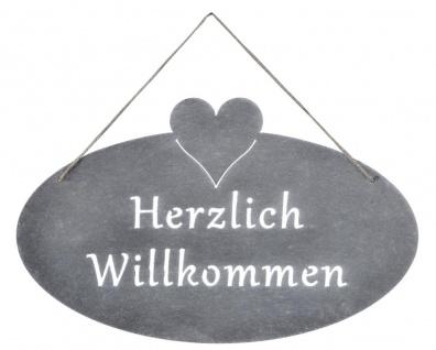 Schild Willkommen Herz 40x25cm Eisen Garten-Deko Grau Türschild Wandschild