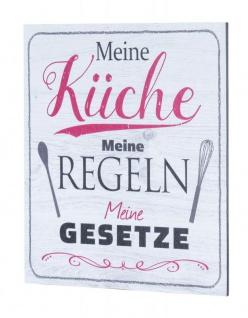 Wandbild 20x20cm Küche Küchenschild Spruch Regeln Deko Wandschild Bild Wanddeko