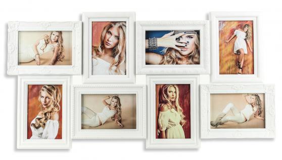 Bilderrahmen Fotocollage weiß 8 Fotos Barock antik Galerie Collage