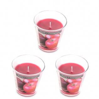levandeo 3er Set Duftkerzen im Glas 9cm Hoch Apfel Zimt Kerze Windlicht Deko