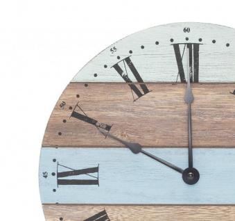 Wanduhr aus Holz 28cm Holzuhr Uhr Blau Weiß Grün Natur Shabby Maritim - Vorschau 2