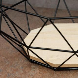 Korb Metall Schwarz 26x12cm Modern Holz MDF Braun Schüssel Schale Deko Design - Vorschau 4